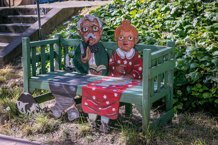 This bench by Connie Bleul-Gohlke commemorates the 50th wedding anniversary of her parents.