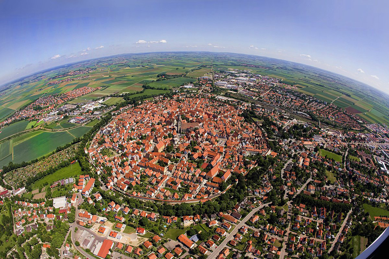 Bavarian town of Nordlingen, Germany, built in a 14 million year old meteor impact crater.
