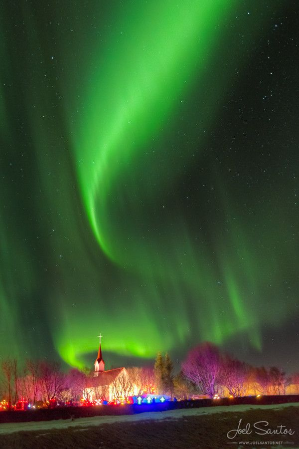 Otherworldly Northern Lights, Church, Iceland by Joel Santos.
