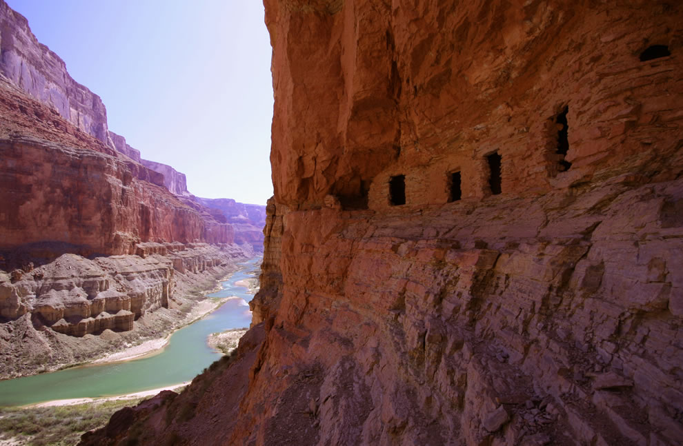 Pueblo-like dwellings over the Colorado River at Nankoweap Creek, Grand Canyon, Arizona