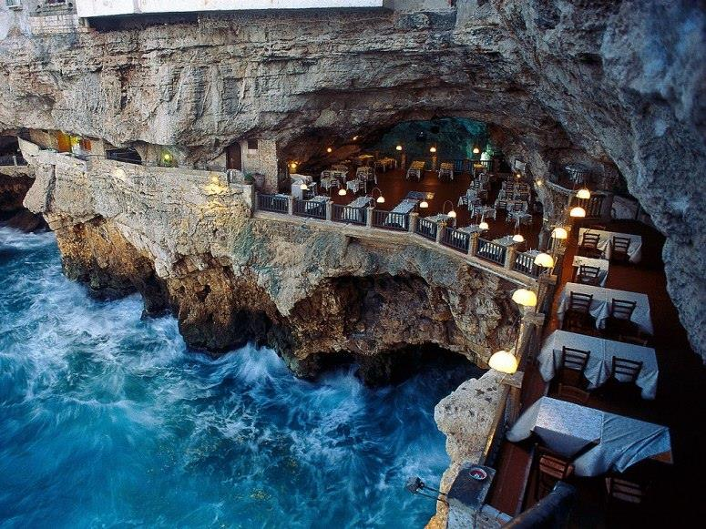 Italian restaurant built into an ocean side grotto.  Wish I knew where this was.