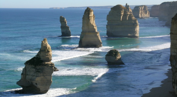 """The 12 apostles""rock formations in Southern Australia named that even though there were never more than 10."