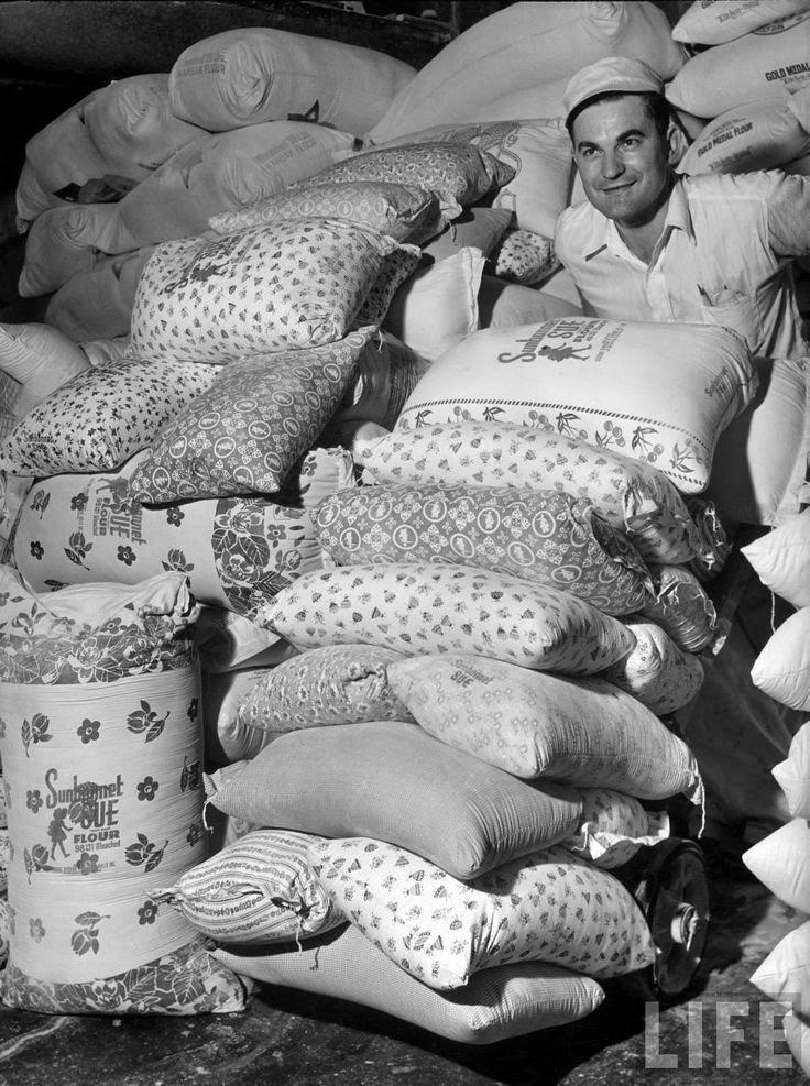 When they realized women were using flour sacks to make clothes during the Great Depression, they started putting them in these, 1939