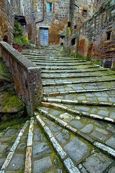Ancient Stairs, Pitigliano, Tuscany, Italy.