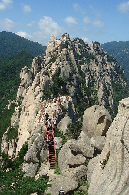 Climbing stairs to Ulsan Rock, Seoraksan National Park, South Korea ,by wmdeneve.
