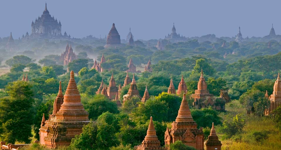 Bagan, the ancient capital of Myanmar or Burma. The area once held 13000 pagodas dating back to the second century A.D. Built of brick that was plastered and painted.