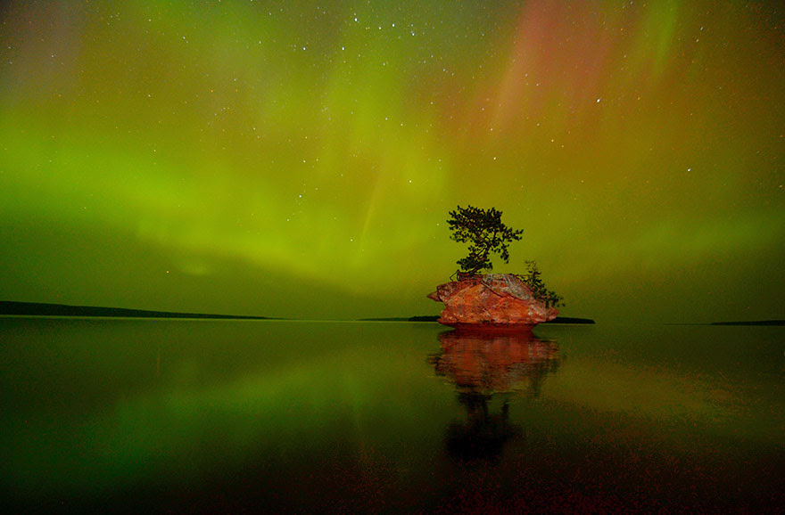 Aurora Borealis Over Honeymoon Rock, Apostle Islands National Lakeshore, Wisconsin, by Jeff Rennicke.