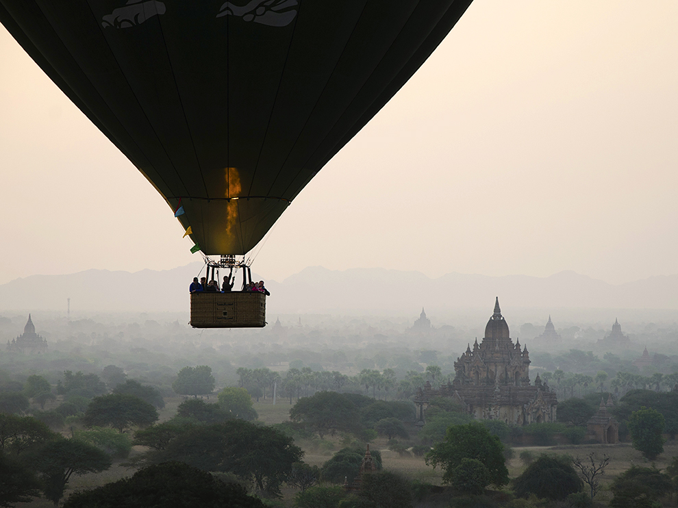 I took a 9 hour night bus from Yangon to Bagan,  Bagan from the air.  Image by  Gerard McGarity