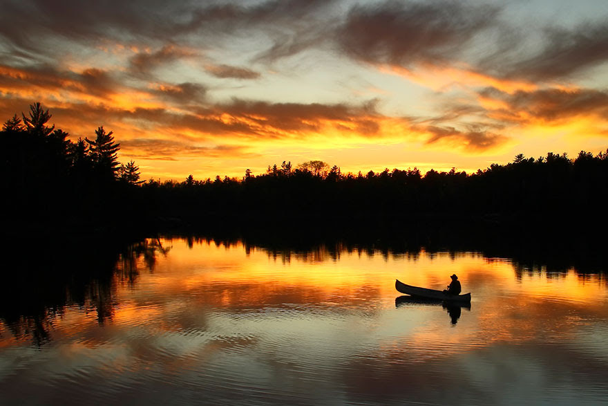 Sunset Paddle, Boundary Waters Canoe Area Wilderness, Minnesota