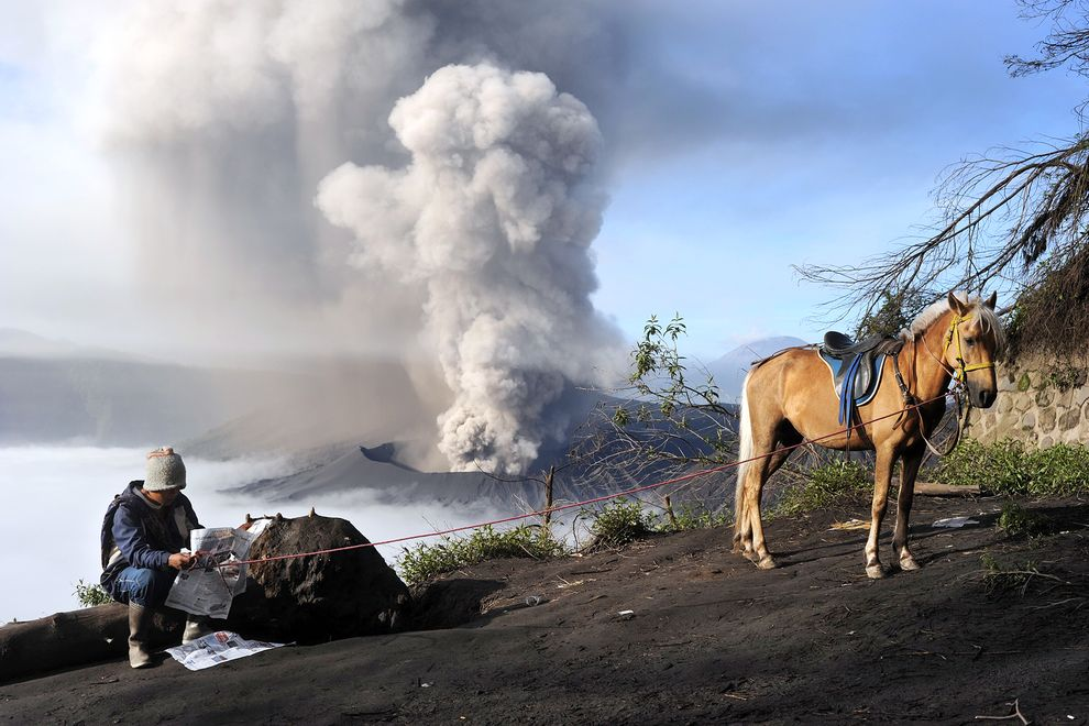 The East Java volcano, Mount Bromo, is one of about 130 active volcanoes in Indonesia, which sits atop the Ring of Fire zone of volcanoes.