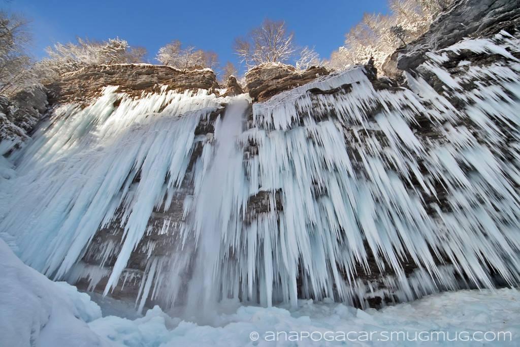 Peričnik waterfall in winter by Ana Pogačar, in slovenia