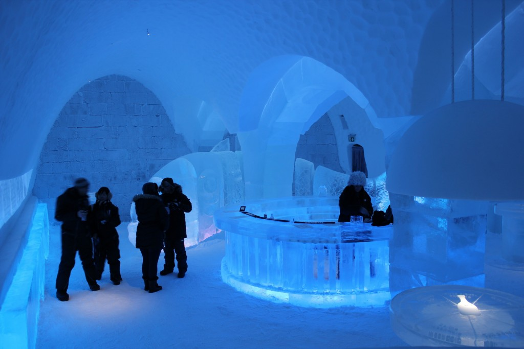 Besides bedrooms, there is a bar, with glasses made of ice, an ice restaurant