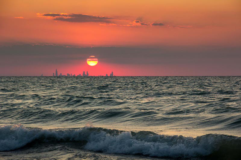 The Chicago skyline from Indiana.