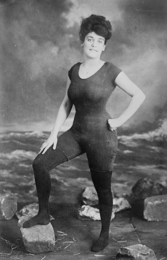 Annette Kellerman promoted women's right to wear a fitted one-piece suit, 1907. She was arrested for indecency.