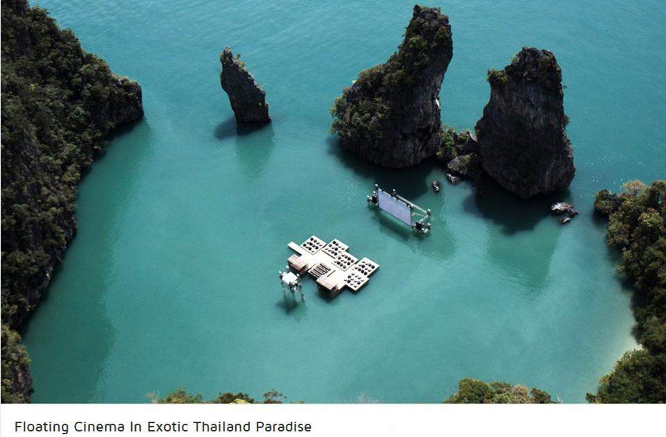 Floating Cinema in Thailand.