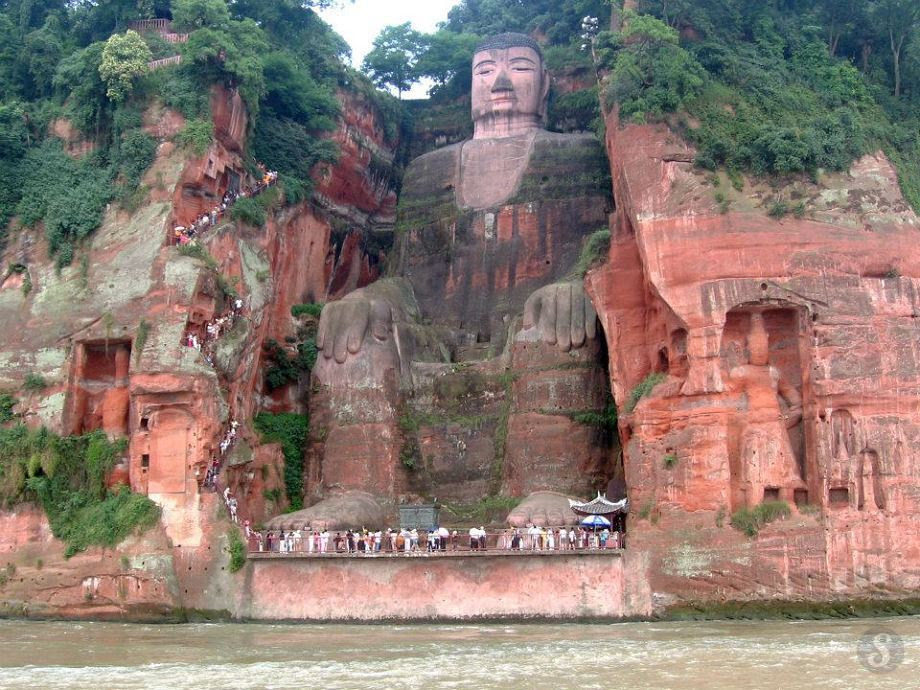 The Leshan Giant Buddha - Cliffs of Mount Lingyun. Sichuan, China
