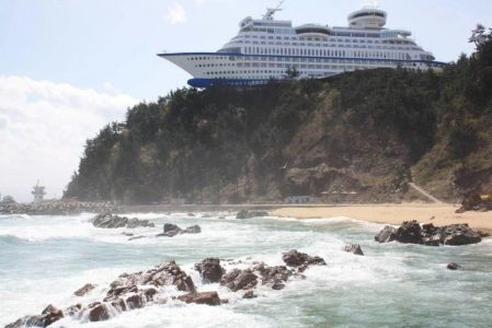 This cruise ship is actually a hotel in South Korea.