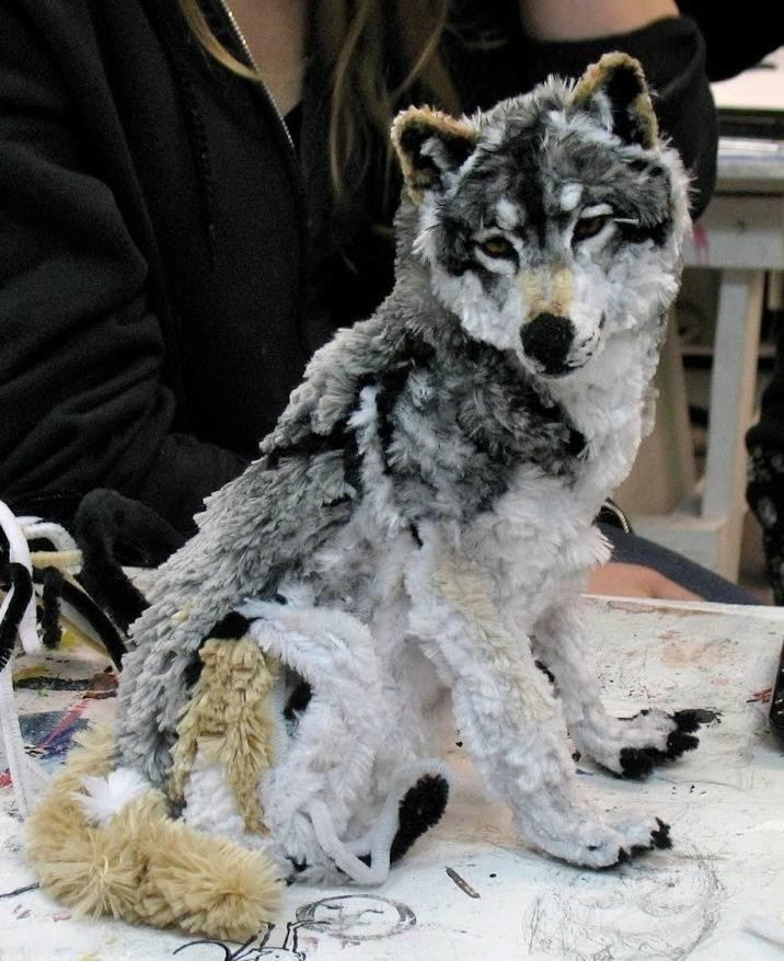 This wolf is made entirely from pipe cleaners.