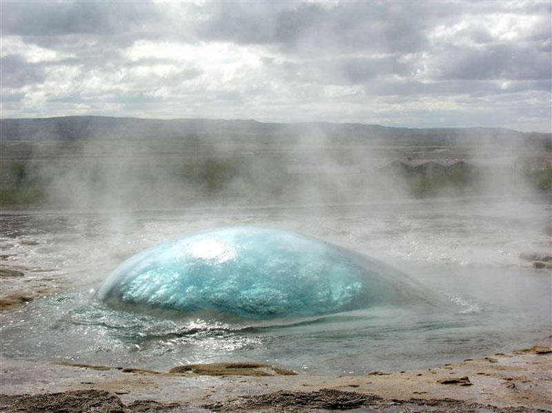 A geyser right before eruption