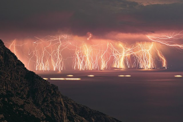 Catatumbo lightning occurs only over the mouth of the Catatumbo River where it empties into Lake Maracaibo in Venezuala, 140 to 260 nights a year, 10 hours per day and up to 280 times per hour.