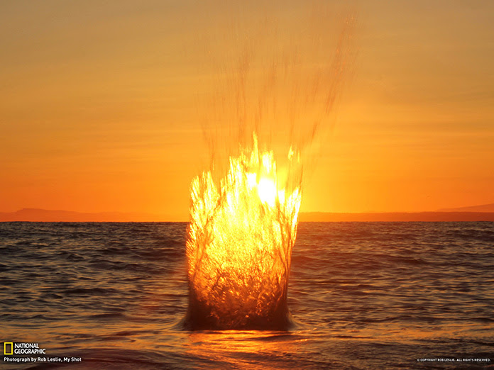 This unedited image was taken with a tripod mounted in the Pacific Ocean during a winter sunset in White Rock, British Columbia, Canada. Taken at the moment a rock was thrown into the water by Rob Leslie via National Geographic.