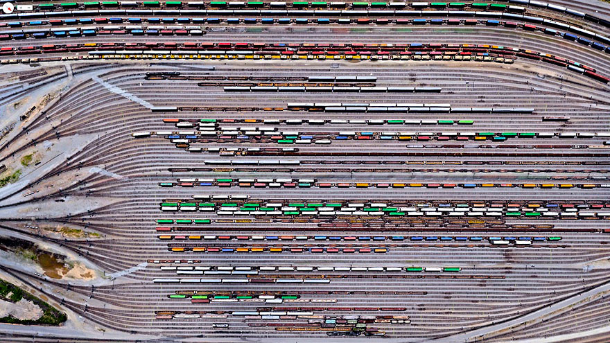 The Norfolk Southern Railway operates 21,300 miles of track in 22 states, primarily in the Southeastern US. Inman Yard in Atlanta, Georgia, pictured here, is one of the major railyards that houses a portion of the operation's 3,648 locomotives and 79,082 freight cars.