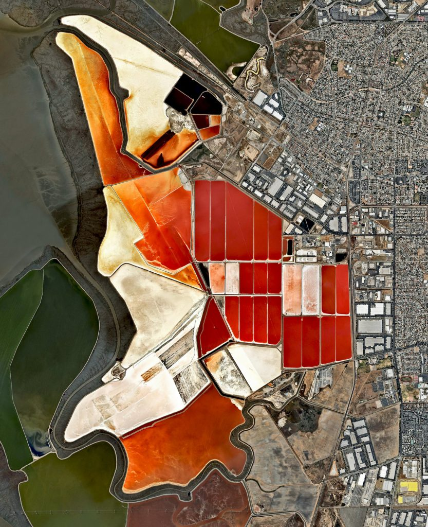 The salt evaporation ponds seen here cover roughly 10 square miles (26 square km) in San Francisco Bay, California, USA. Salt is extracted from the water here through a lengthy process. First, water from the bay is channeled into massive basins where it begins a transformation into brines. Over five years, the brines evaporate, concentrate, and travel several miles before they are collected as pure salt crystals. The massive ponds get their vibrant color from a particular species of algae (Dunaliella) that thrives in extremely salty water and produces a red pigment.