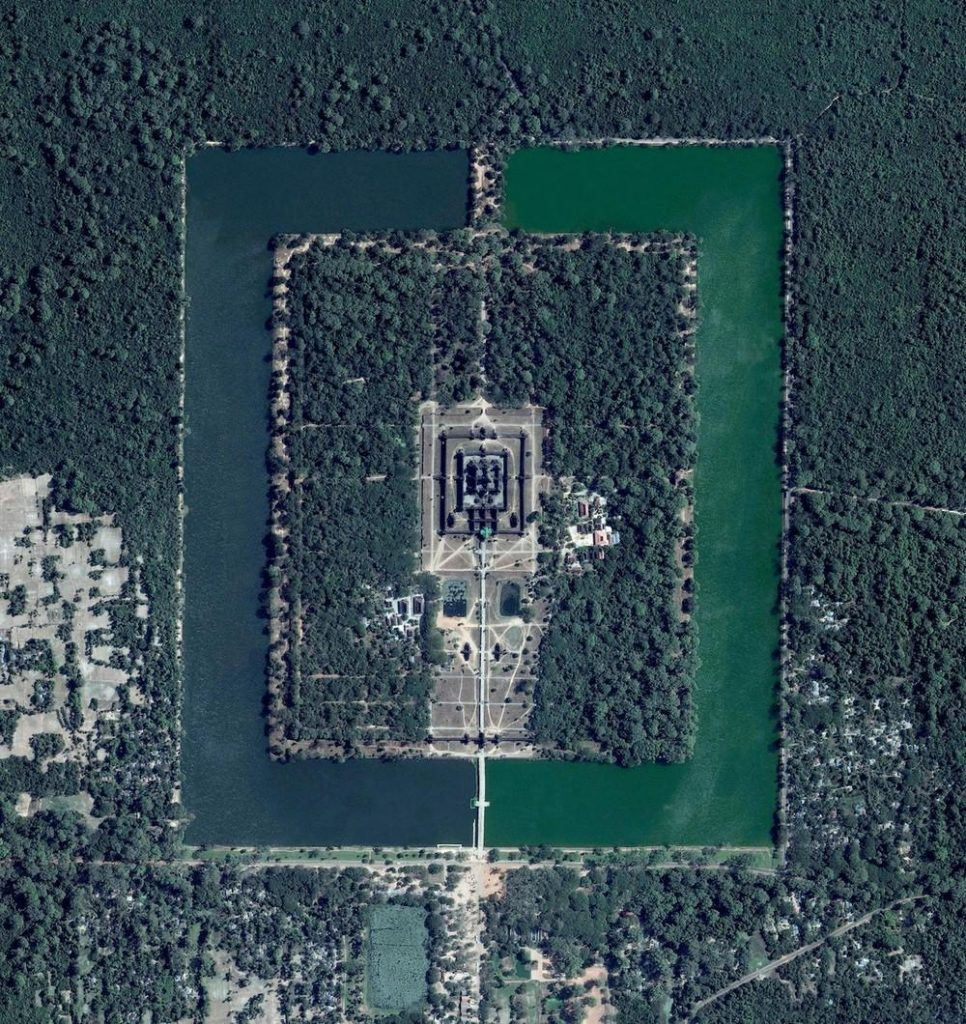 Angkor Wat, a temple complex in Cambodia, is the largest religious monument in the world (first it was Hindu, then Buddhist). Constructed in the twelfth century, the 820,000 square meter (8.8 million square feet) site features a moat and forest that surround a massive temple at its center.