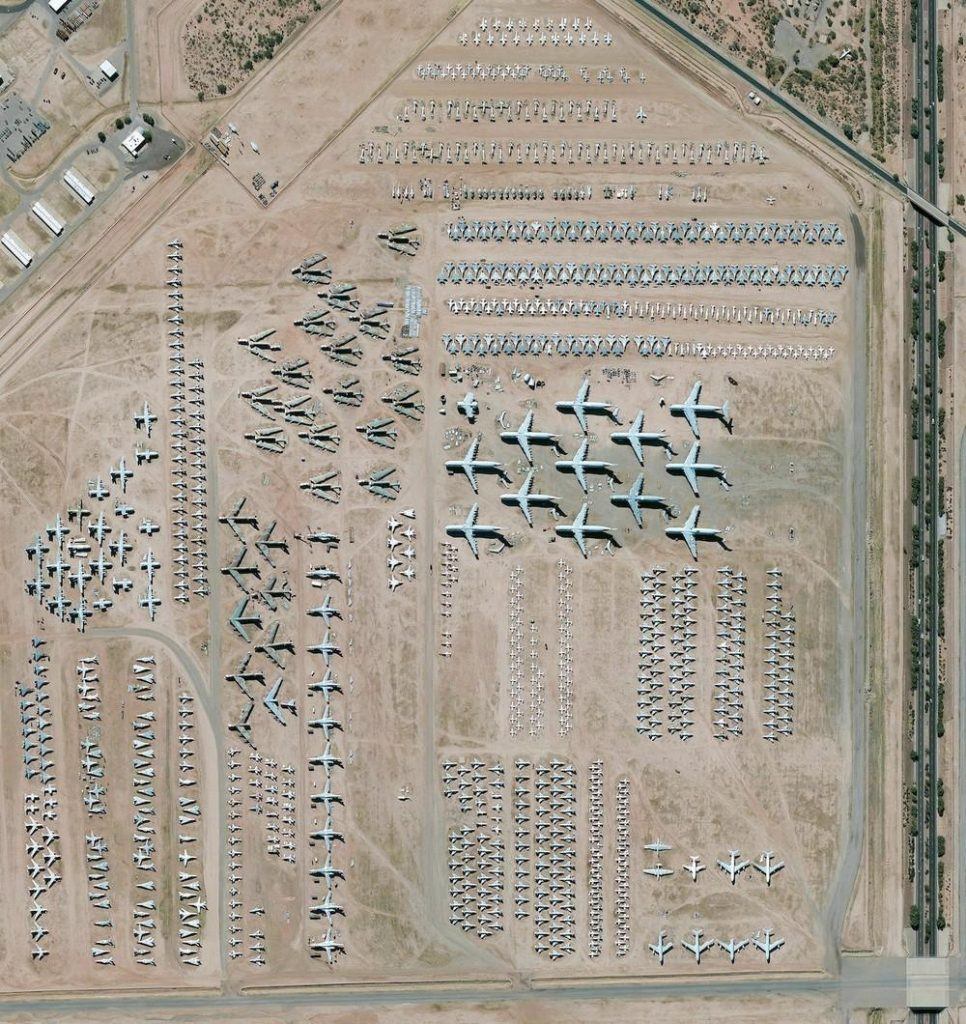 The largest aircraft storage and preservation facility in the world is located at Davis-Monthan Air Force Base in Tucson, Arizona, USA. The boneyard contains more than 4,400 retired American military and government aircrafts.