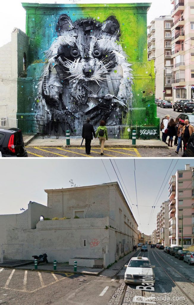 Racoon Mural made of trash and found objects. Lisbon, Portugal