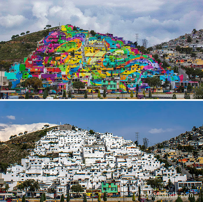 An entire town painted over, Palmitas, Mexico